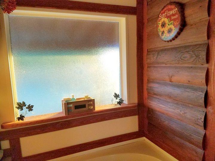cabin log style bathroom