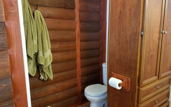 cabin log style bathroom