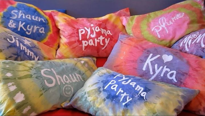 s top 20 diy crafts to do with kids, Personalized Tie Dye Pillow Cases