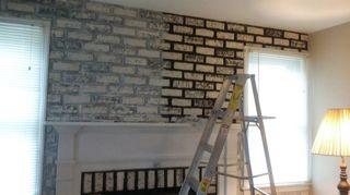 I Am Painting My 70 S Z Brick Backsplash Kitchen Project Hometalk