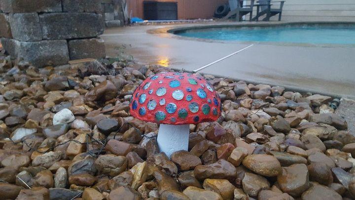DIY Concrete Mushrooms