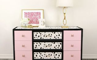flea market furniture flip using a dalmatian stencil