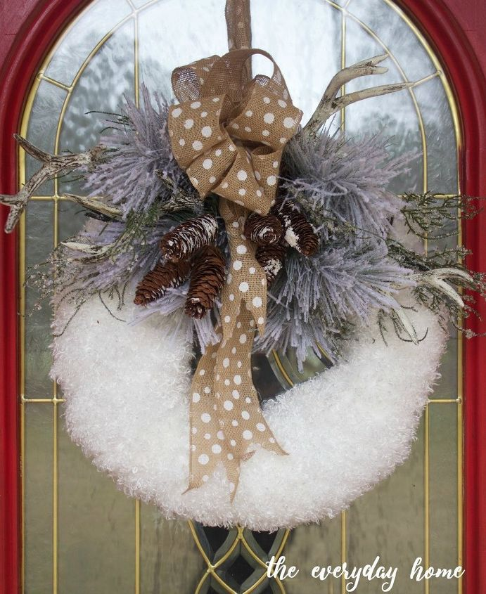 s 20 wintery wreath ideas that you ll want to make for your home, Fuzzy Fabric Wreath