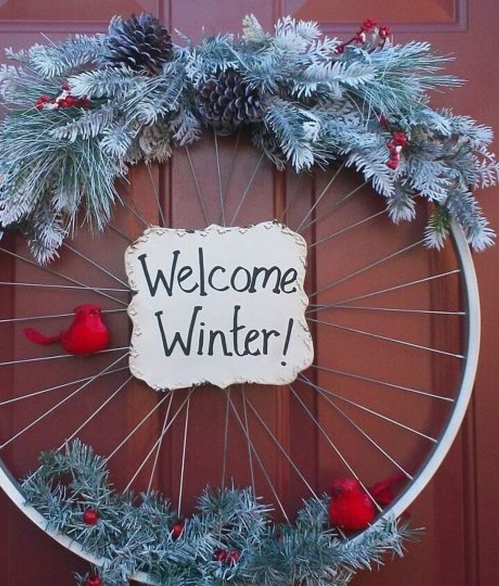s 20 wintery wreath ideas that you ll want to make for your home, Welcoming Bicycle Rim Wreath