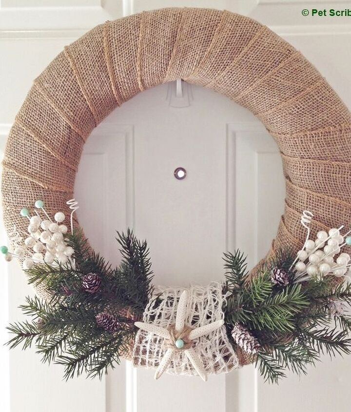 s 20 wintery wreath ideas that you ll want to make for your home, Coastal Winter Wreath