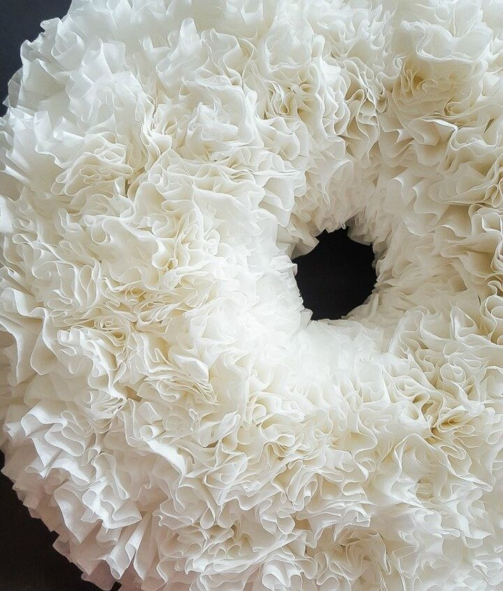 s 20 wintery wreath ideas that you ll want to make for your home, Coffee Filter Wreath