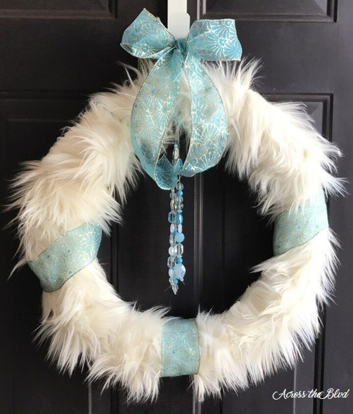 s 20 wintery wreath ideas that you ll want to make for your home, Faux Fur Wreath