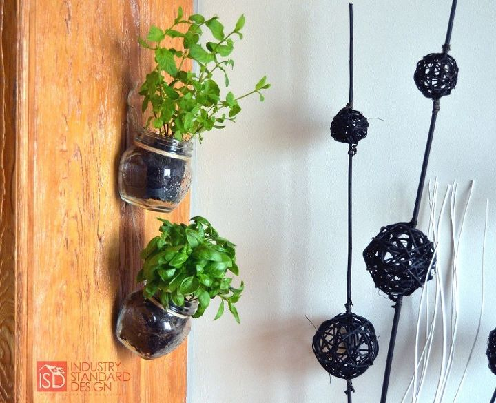 s these herb garden ideas will make you want to start one of your own, Hanging Mason Jar Herb Garden