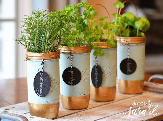s these herb garden ideas will make you want to start one of your own, Decorative Mason Jar Herb Garden