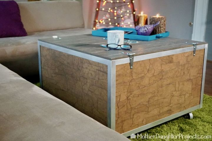 diy industrial coffee table with storage