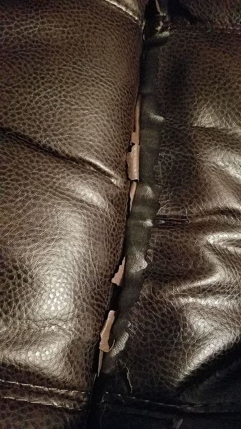 q what product to use to fix seam with faux leather in recliner seat are