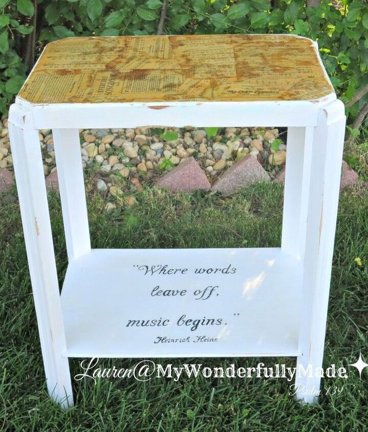 music lover s decoupage table