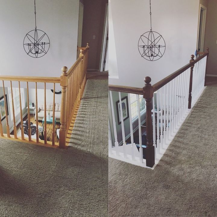 banister makeover with no sanding or stripping