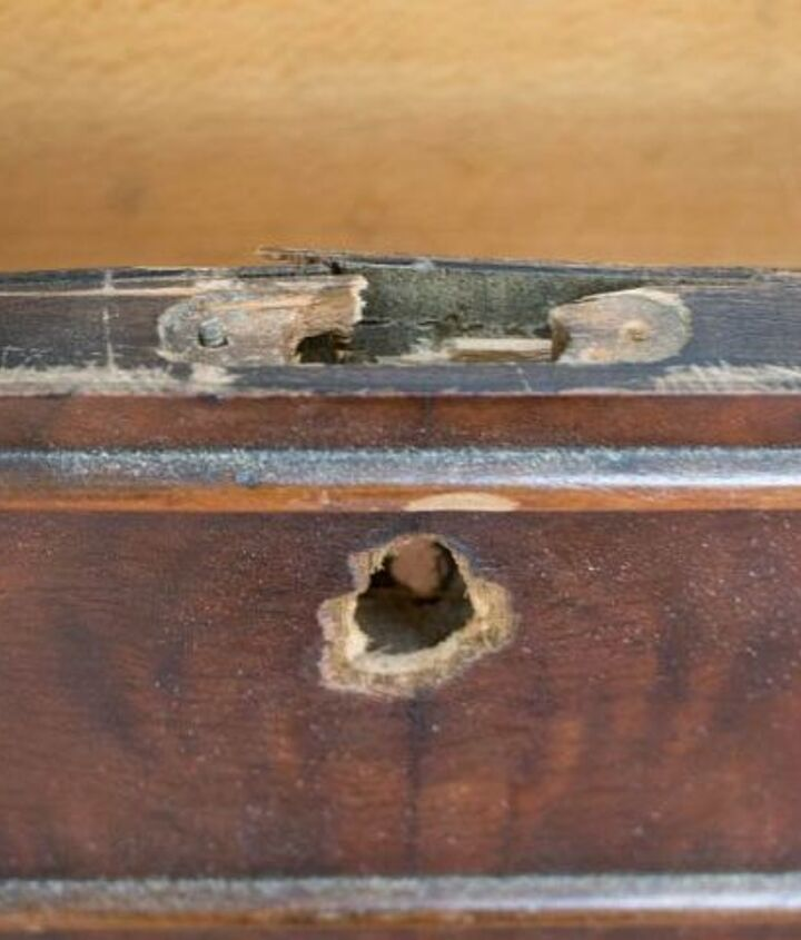 how to fix damaged keyholes large holes in used furniture