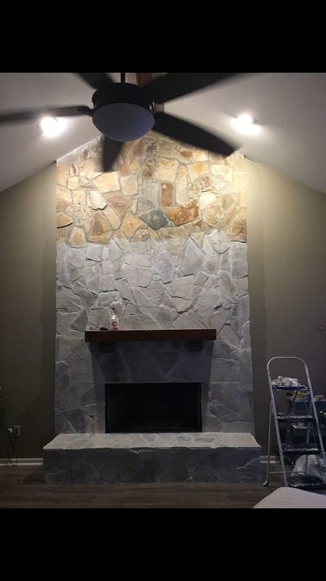 whitewash your stone fireplace for under 20