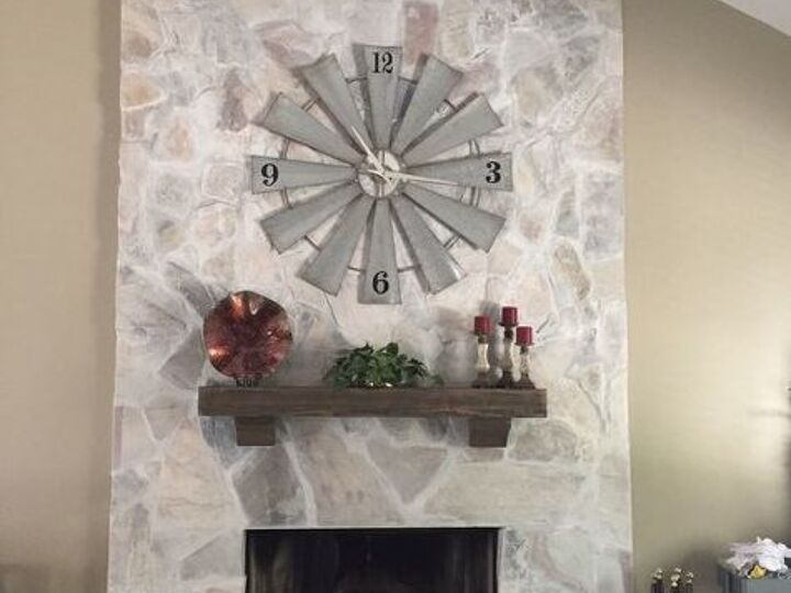 Whitewash Your Stone Fireplace for Under $20