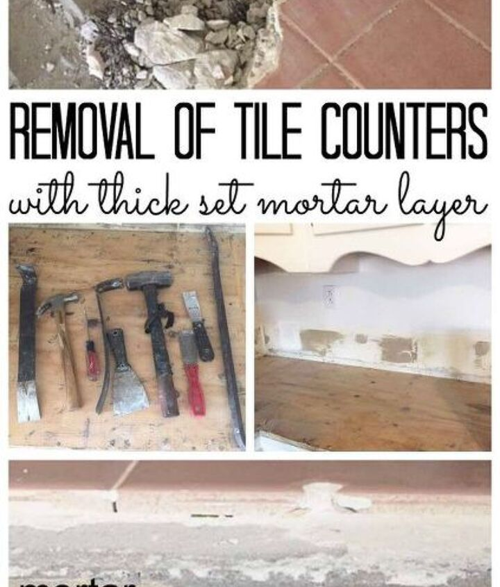 tile removal removing thick set tile counters