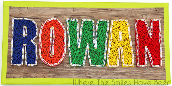 s string art ideas that you ll want to hang in your home, Colorful name sign