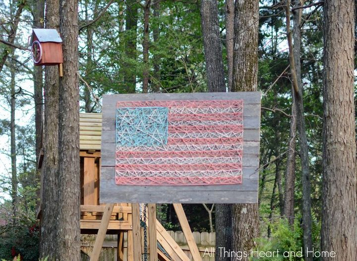s string art ideas that you ll want to hang in your home, Patriotic flag