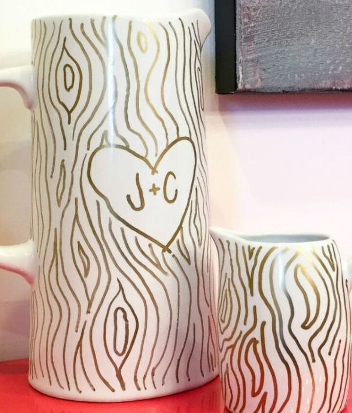 faux bois sharpie valentines pitcher