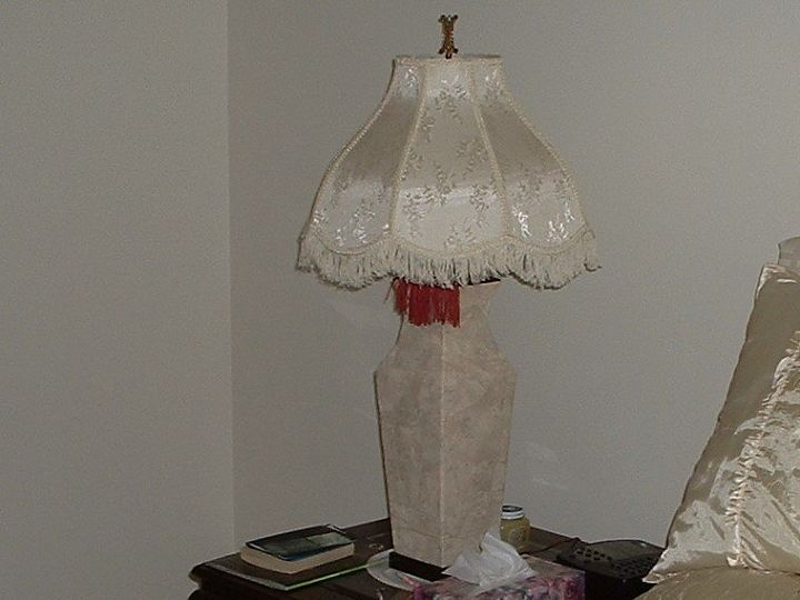 q paper mach an old lamp with left over wall paper scraps