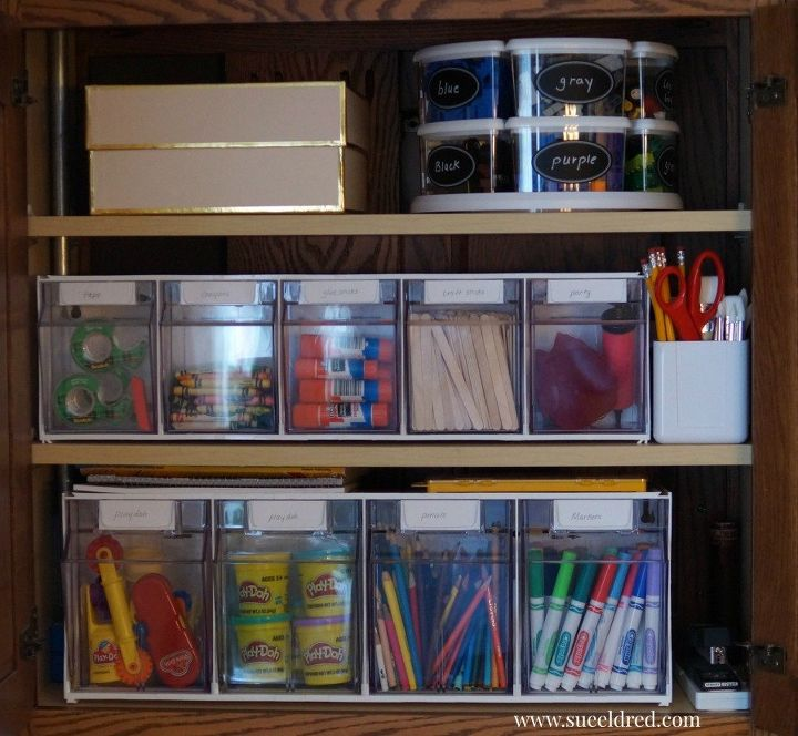 organize creating a kids craft cabinet