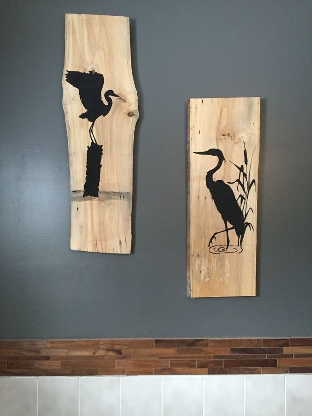 heron silhouettes on live edge birch for the master bathroom