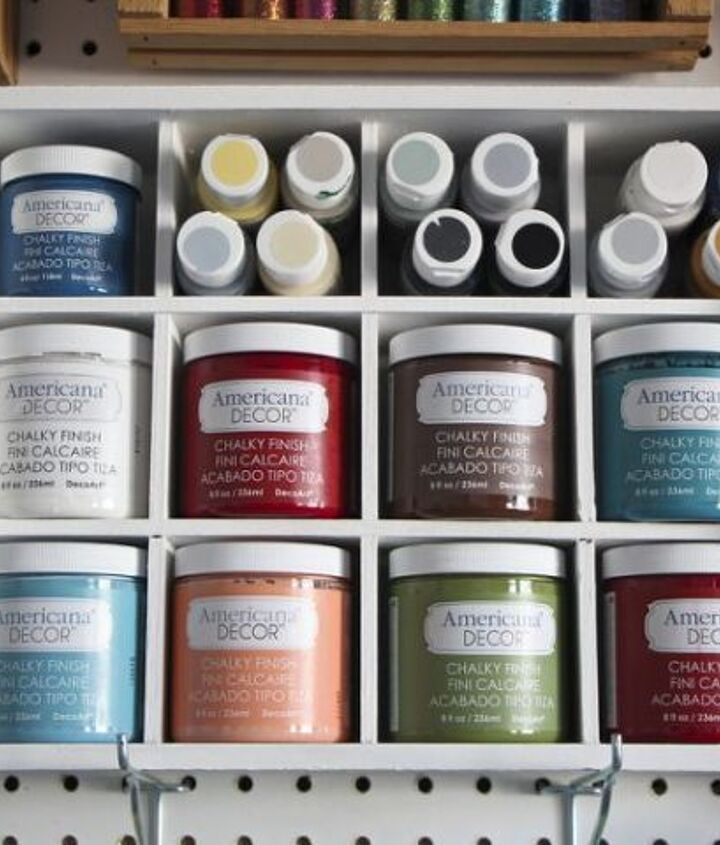 s these bloggers came up amazing organization ideas, Chalky Finish Paint Organizer
