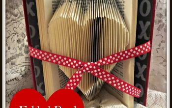 folded book art single heart