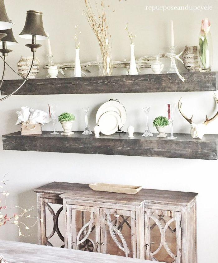 diy floating dining room shelves