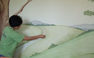 painting a mural with just a sponge
