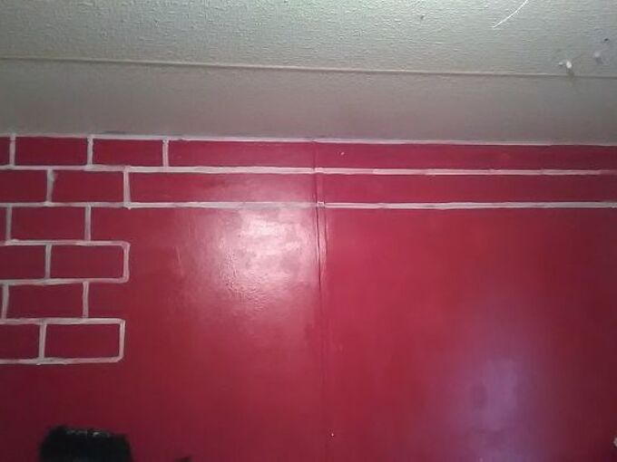 the start of my inspired faux brick wall