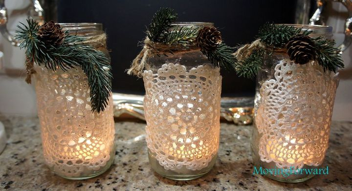 s 21 totally terrific things you can do with doilies, Glue Them To Jars For Pretty Lanterns