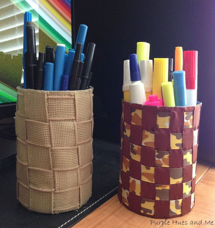 s easy diy ideas to add some fun to your office space, Tin can woven ribbon pen holders
