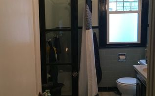 turning a french door into a shower wall