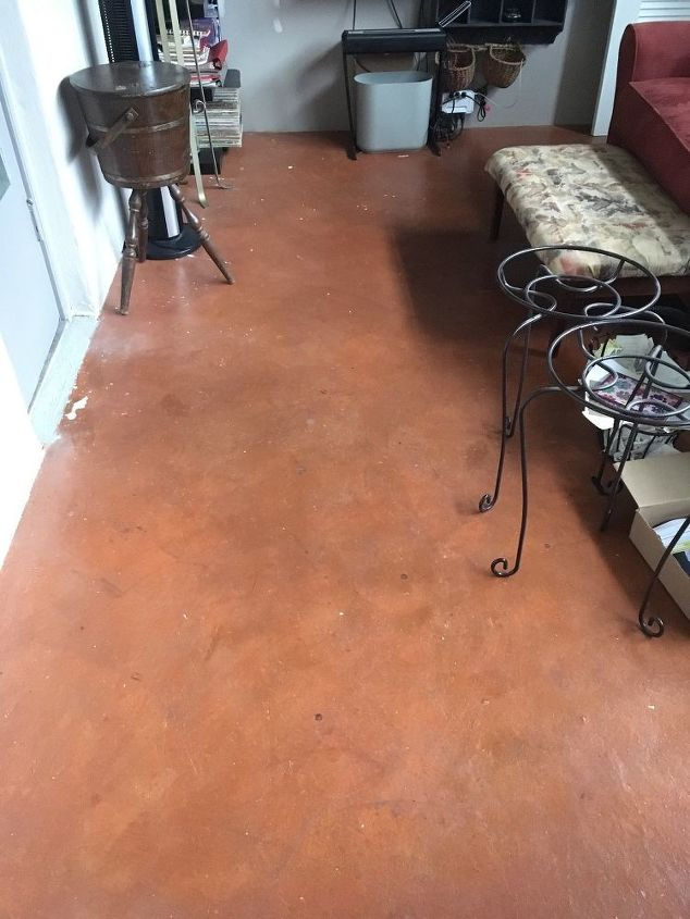q need to tile stained concrete floor what prep to do for adherence