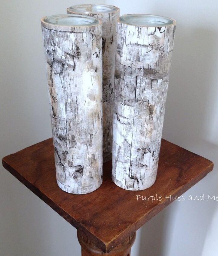 faux birch bark candleholders