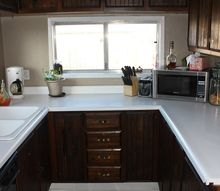 kitchen remodel with new real granite counters less than 400, Old Ugly Kitchen