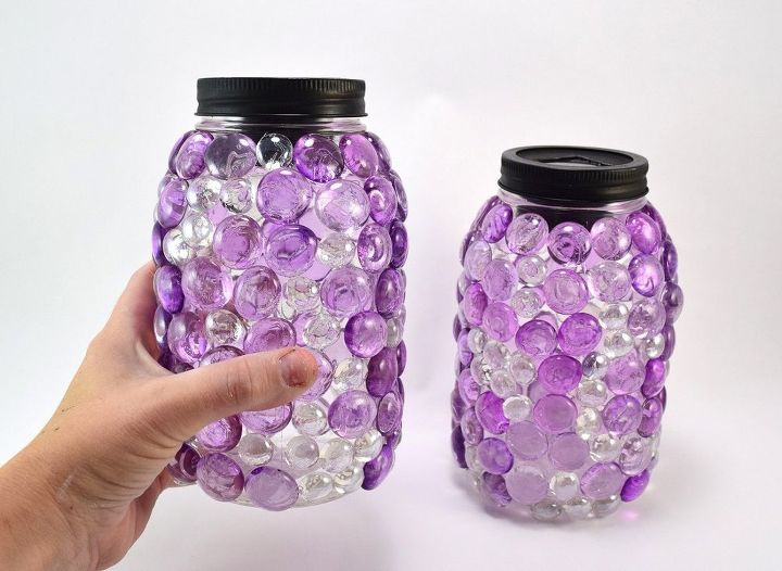 dollar store gem mason jar luminaries