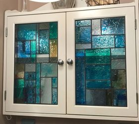 Faux Stained Glass Shower Door And Medicine Cabinet