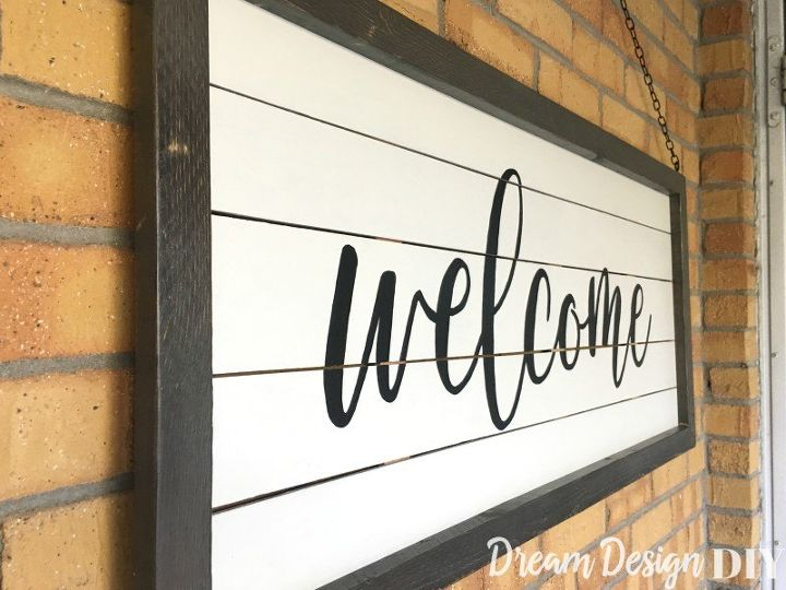 large shiplap welcome sign