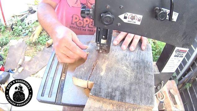a fun diy bottle opener to make, Cutting oak on the bandsaw