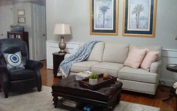 family room goes from gold to gray and bright, Another view of after