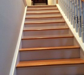 Marvelous I Love My White Painted Risers And Oak Stained And Polyurethane Treads.