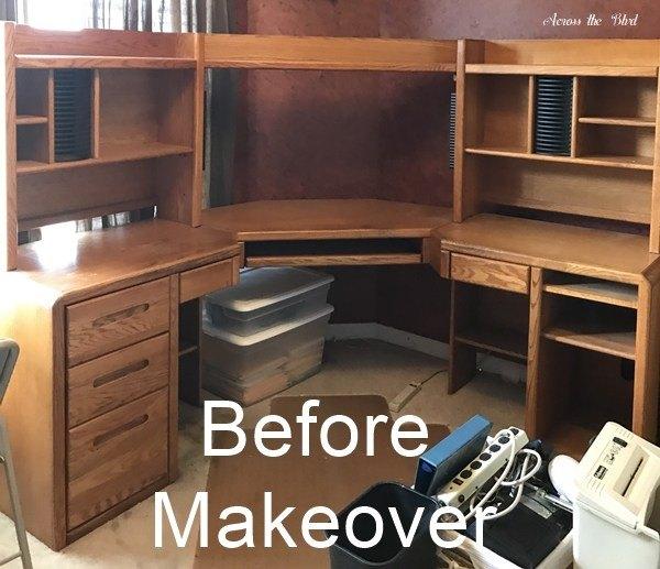 large desk makeover using chalk paint