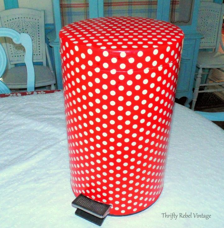 give your garbage can a fun decoupage makeover