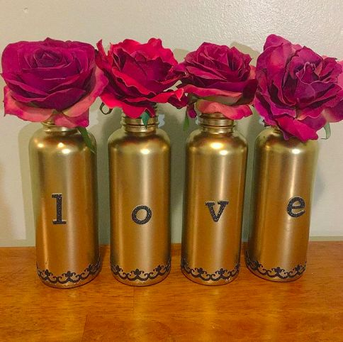 s valentine s day is getting closer get ready with these lovely ideas, Upcycled Bottle Decor