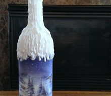 upcycle a wine bottle using hot glue for a decorative look