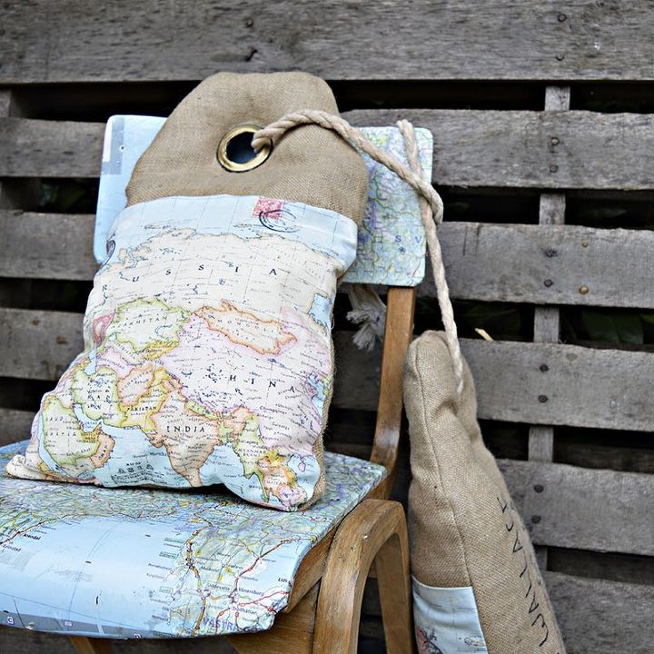 s 25 creative ways you can decorate using maps, Unique Luggage Tag Map Burlap Pillows
