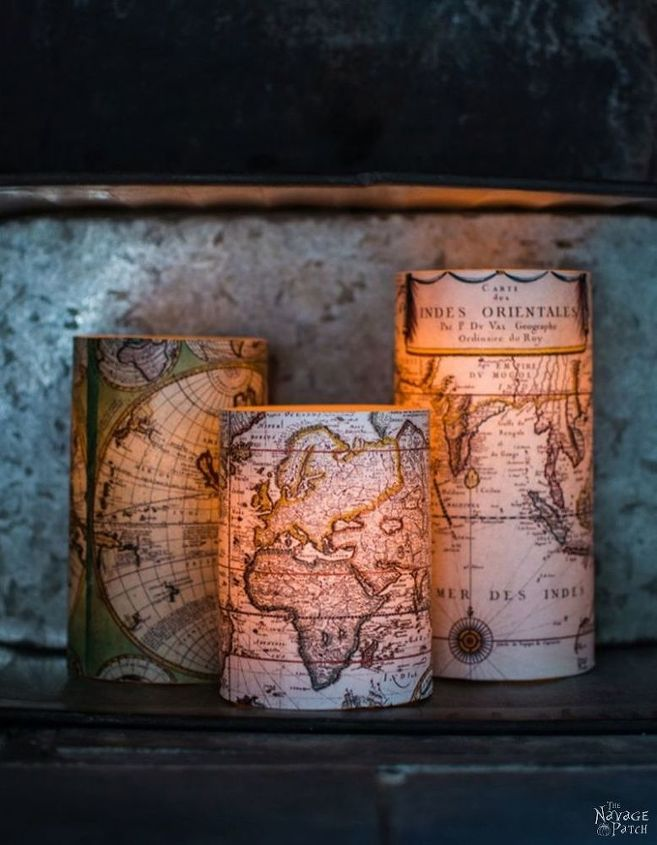 s 25 creative ways you can decorate using maps, Antique World Map Decoupaged Candles